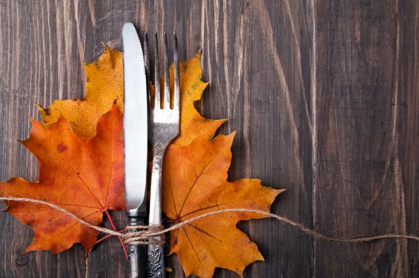 есенна диета листо-дървен фон-нож-вилица
