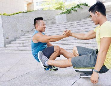 Squatting on one leg