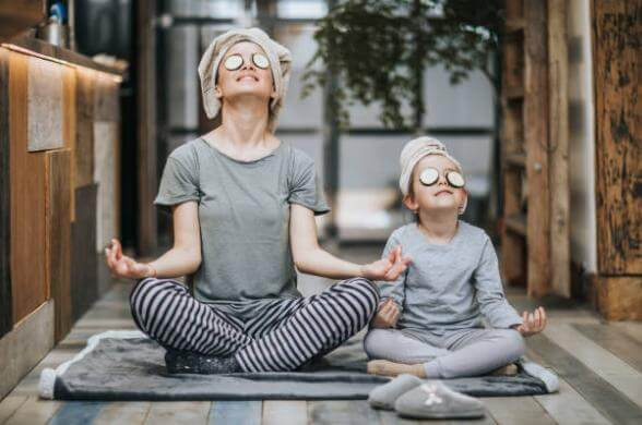 mom and kid, yoga