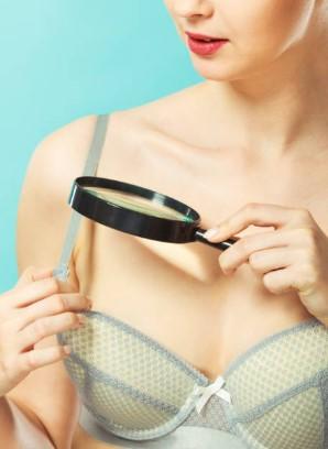 woman, bra, magnifier glass