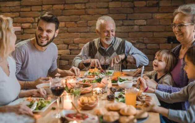 family, dinner, food