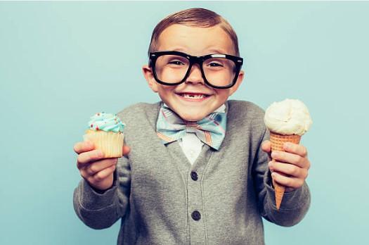 ice-cream, kid, glasses