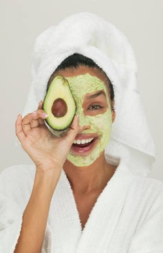 face mask, girl, avocado