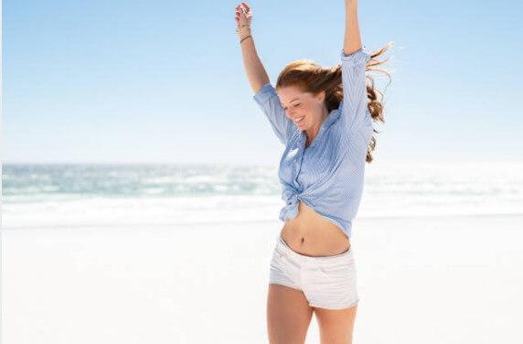 happy girl, beach