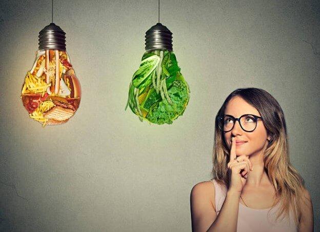 woman, healthy, unhealthy food