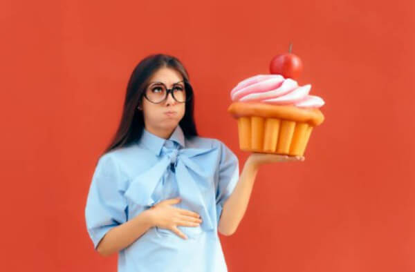 overeating, woman, donut