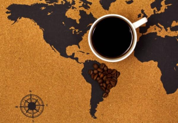 coffee, world map