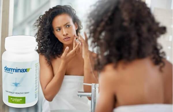 capsules derminax, woman, acne, pimple
