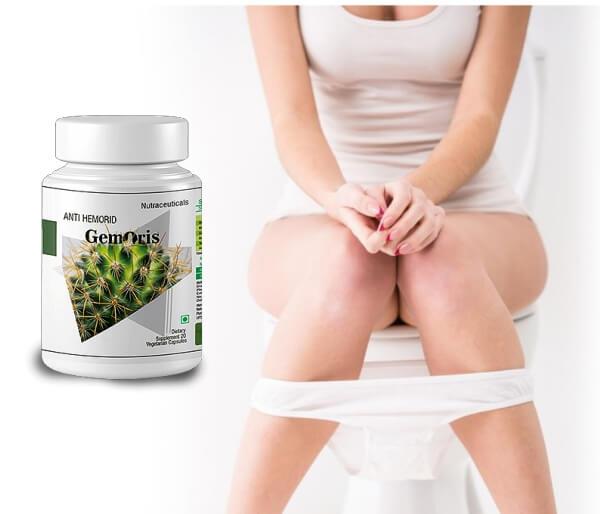 gemoris capsules, woman, toilet